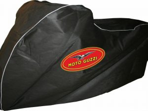 Breathable Indoor Motorbike bike Dust cover to fit Moto Guzzi V9 Bobber This is for a Black and White indoor breathable motorcycle cover which gives a semi tailored fit. Made from Black polyester it is very strong, but does not scratch. It is elasticated front and rear for easy fitting, and has contrasting white piping and is printed on both sides with the Moto Guzzi logo. The fabric is breathable,so is ideal in damp sheds/garages as it allows moisture to evapourate. It also keeps the dust off! An easy and stylish way to protect your Moto Guzzi Comes complete with storage pouch This is sized to fit the Guzzi V9 Bobber Dust Cover Dust Cover